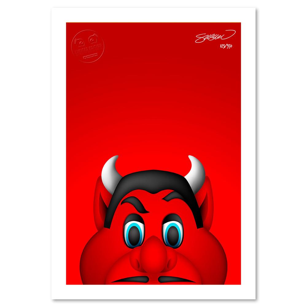 NJ Devil Minimalist NHL Mascot Limited Edition Art Print by S. Preston
