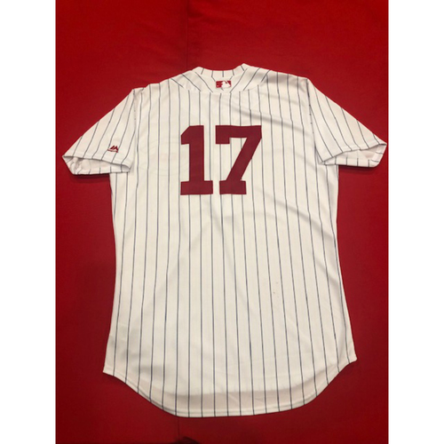 Photo of Josh VanMeter -- Game-Used Jersey -- 1919 Throwback Game -- Nationals vs. Reds on June 2, 2019 -- Jersey Size 44