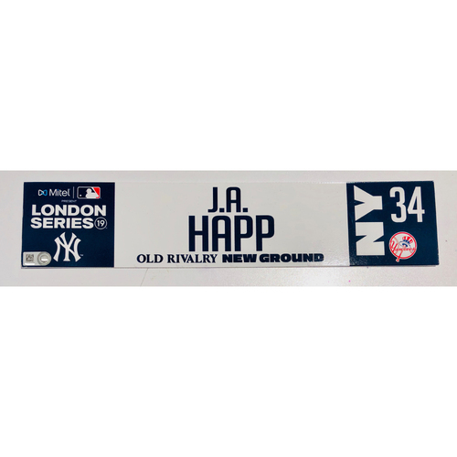 2019 London Series - Game Used Locker Tag - J.A. Happ, New York Yankees vs Boston Red Sox - 6/30/2019