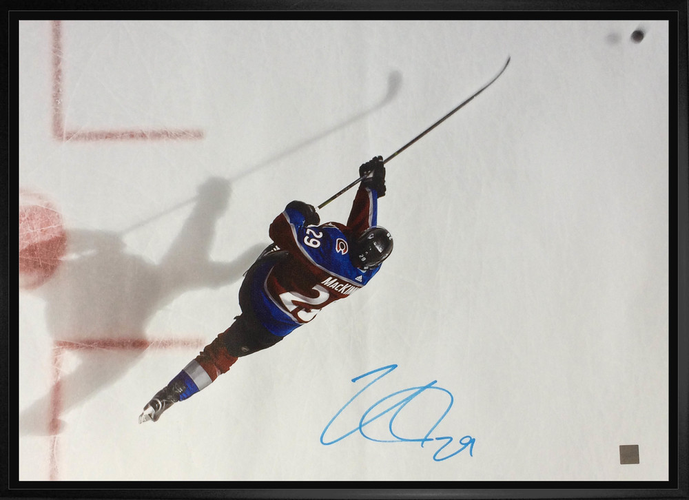 Nathan MacKinnon Signed 20x29 Canvas Framed Avalanche Burgundy Overhead