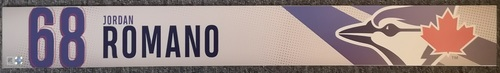 Photo of Authenticated Game Used Locker Name Plate: #68 Jordan Romano (2019 Regular Season). Rookie Season.