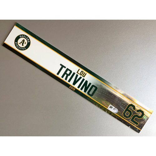 Photo of Team-Issued Lou Trivino 2019 Locker Nameplate