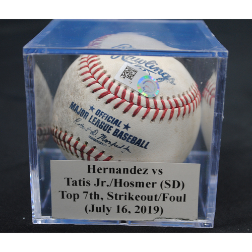 Photo of Game-Used Baseball: Elieser Hernandez vs Fernando Tatis Jr./Eric Hosmer (SD), Top 7th, Strikeout/Foul (July 16, 2019)