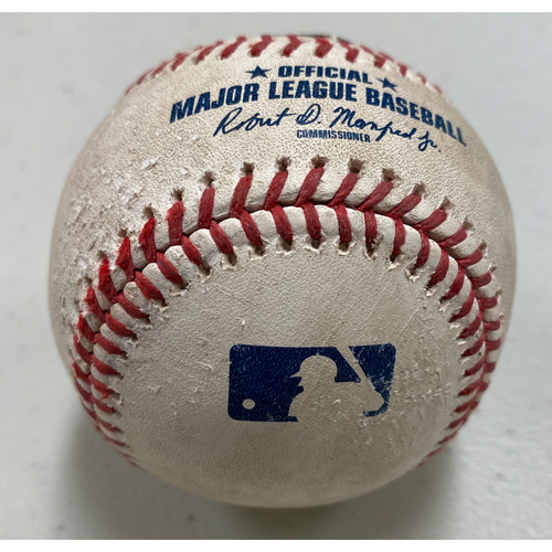 Photo of 2020 Game Used Baseball used on 7/29 vs. San Diego Padres - B-8: Donovan Solano 3 Run Home Run to LF (Dickerson & Crawford Score) off of Craig Stammen