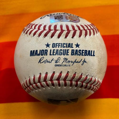 Photo of Game-Used Baseball 7/27/20 Astros vs Giants (Graveman to Bregman - 3 Pitches)