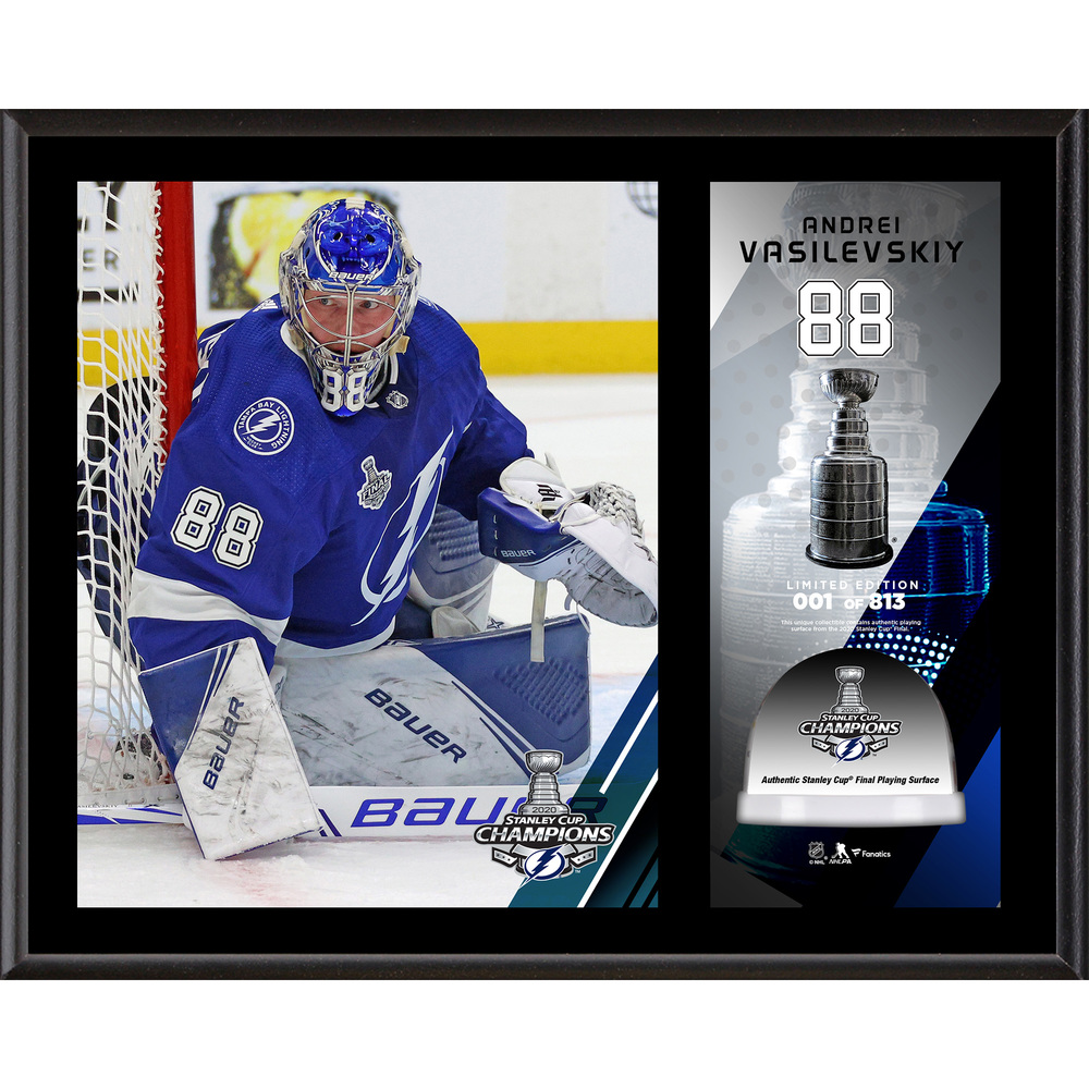 Andrei Vasilevskiy Tampa Bay Lightning 2020 Stanley Cup Champions 12'' x 15'' Sublimated Plaque with Game-Used Ice from the 2020 Stanley Cup Final - LE#1 of 813