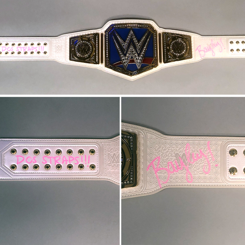 Photo of Bayley SIGNED SmackDown Women's Championship Replica Title