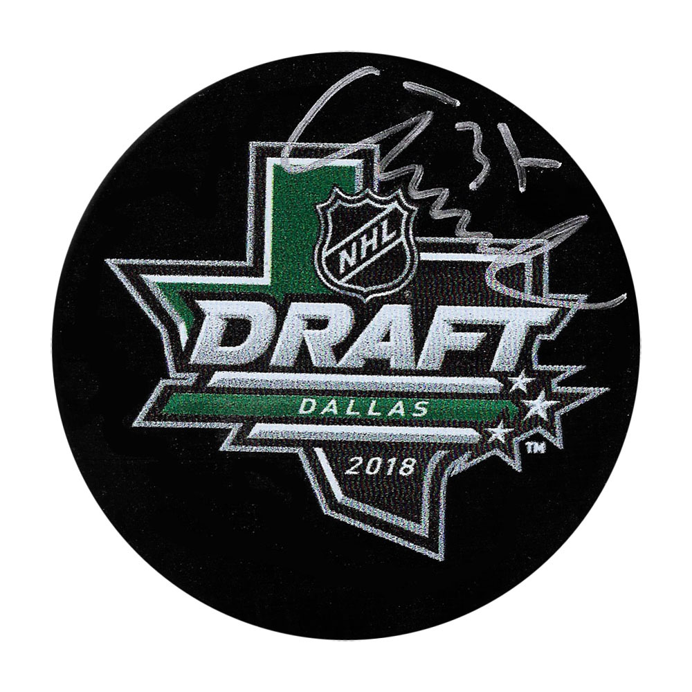 Isac Lundestrom Autographed 2018 NHL Entry Draft Puck