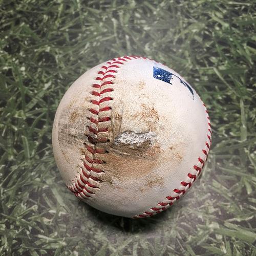 Photo of Game-Used Baseball KC@MIL 07/20/21 - Brett Anderson - Whit Merrifield: Foul
