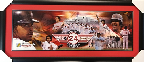 Manny Ramirez Autographed Career Highlight Collage 36x12 - *Framed*