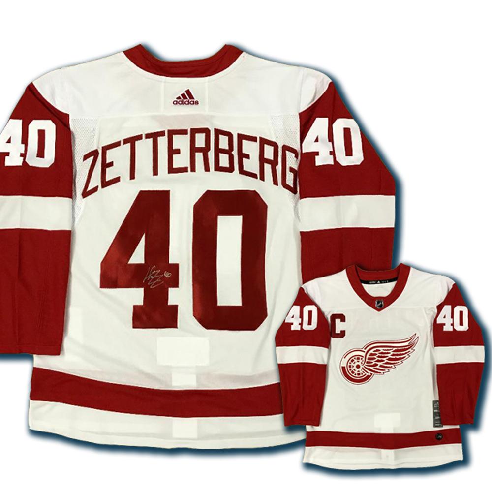 uk availability 45bc2 c6603 HENRIK ZETTERBERG Signed Detroit Red Wings White Adidas PRO ...