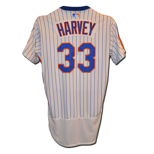 Photo of Matt Harvey #33 - Game Used 1986 Throwback Jersey - Mets vs. Dodgers - 5/29/16