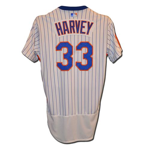 Photo of Matt Harvey #33 - Game Used 1986 Throwback Jersey - Mets vs. Dodgers - 5/29/16