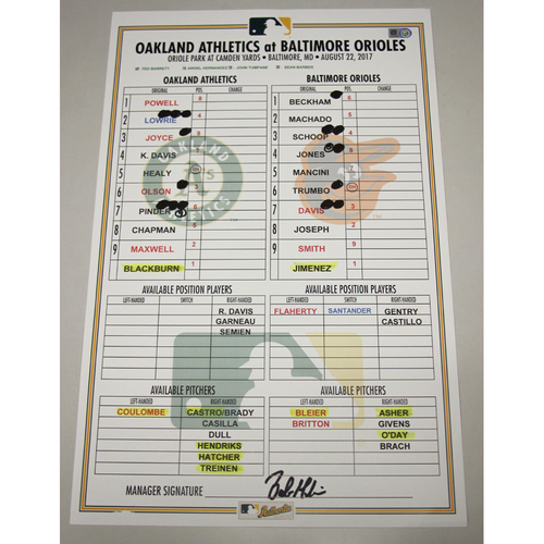 Photo of Lineup Card - 8/22/17 Oakland Athletics at Baltimore Orioles: Khris Davis 500th Hit Game