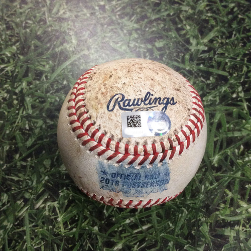 Photo of Game-Used Baseball NLCS Game 7 LAD@MIL 10/20/18 - Walker Buehler - Jonathan Schoop: Foul Ball