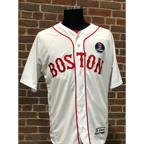 Photo of Red Sox Foundation - Brian Johnson Team-Issued and Autographed Patriots' Day Jersey