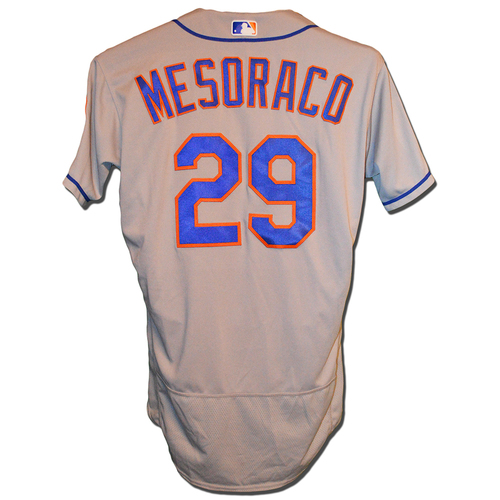 Photo of Devin Mesoraco #29 - Game Used Road Grey Jersey - 3-3, 1 RBI - Mets vs. Nationals - 9/21/18