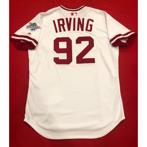 Photo of Nate Irving -- Game-Used 1990 Throwback Jersey & Pants -- Cardinals vs. Reds on Aug. 18, 2019 -- Jersey Size 46 / Pants Size: 36-41-20