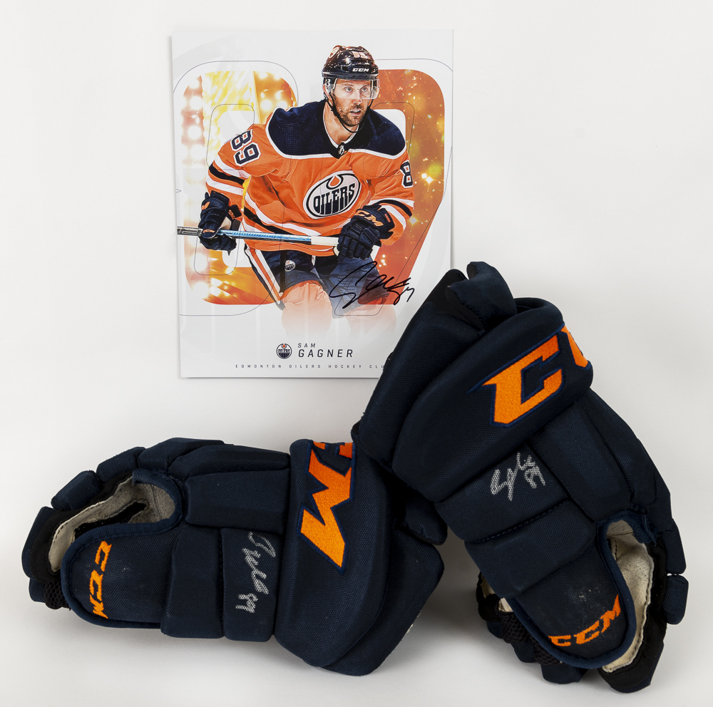 Sam Gagner #89 - Autographed 2019-20 Edmonton Oilers Game-Worn CCM Pro Hockey Gloves - Includes Autographed Oversized Player Card!
