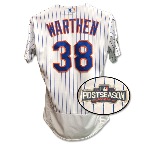 Photo of Dan Warthen #38 - Game Used White Pinstripe 2016 Postseason Jersey - 2016 NL Wild Card Game - Mets vs. Giants - 10/5/16