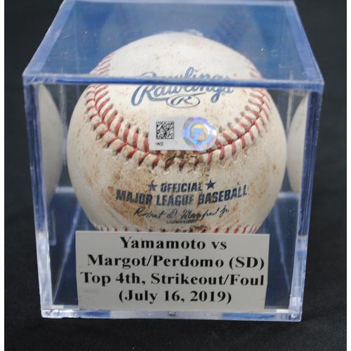 Photo of Game-Used Baseball: Jordan Yamamoto vs Manuel Margot/Luis Perdomo (SD), Top 4th, Strikeout/Foul (July 16, 2019)