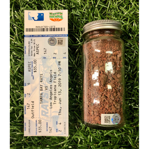 Photo of Game Used Dirt and Replica Game Ticket: Shohei Ohtani Cycle Game - June 13, 2019 v LAA