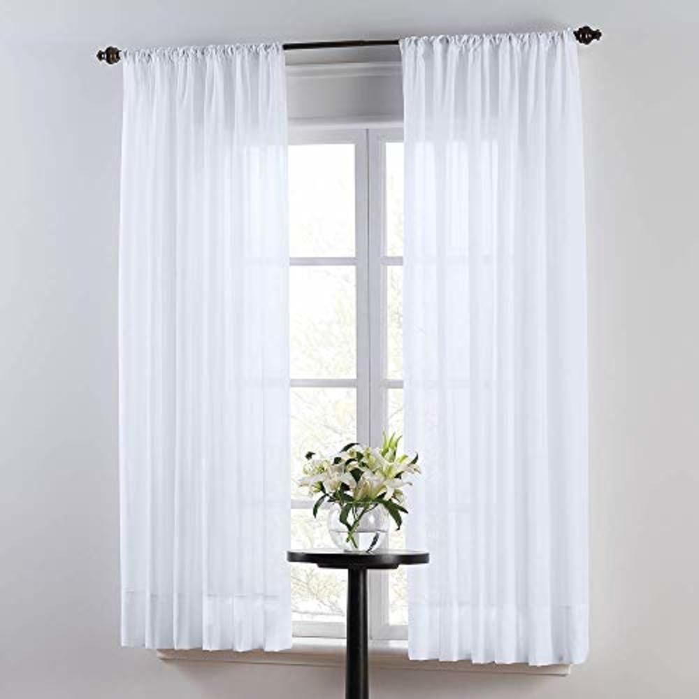 "Photo of SmartSheer Solid Rod Pocket Window Sheer Panel, White, 63"" L x 59"" W (Single Panel)"