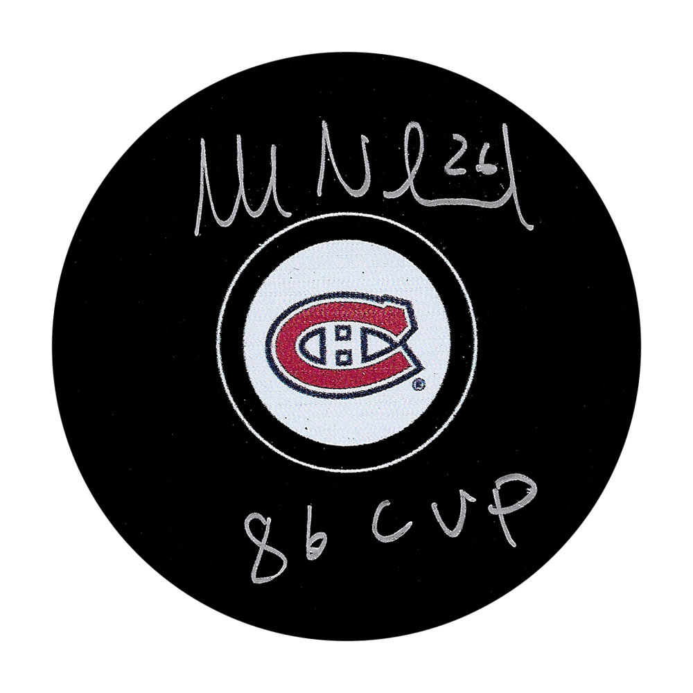 Mats Naslund Autographed Montreal Canadiens Puck w/86 CUP Inscription