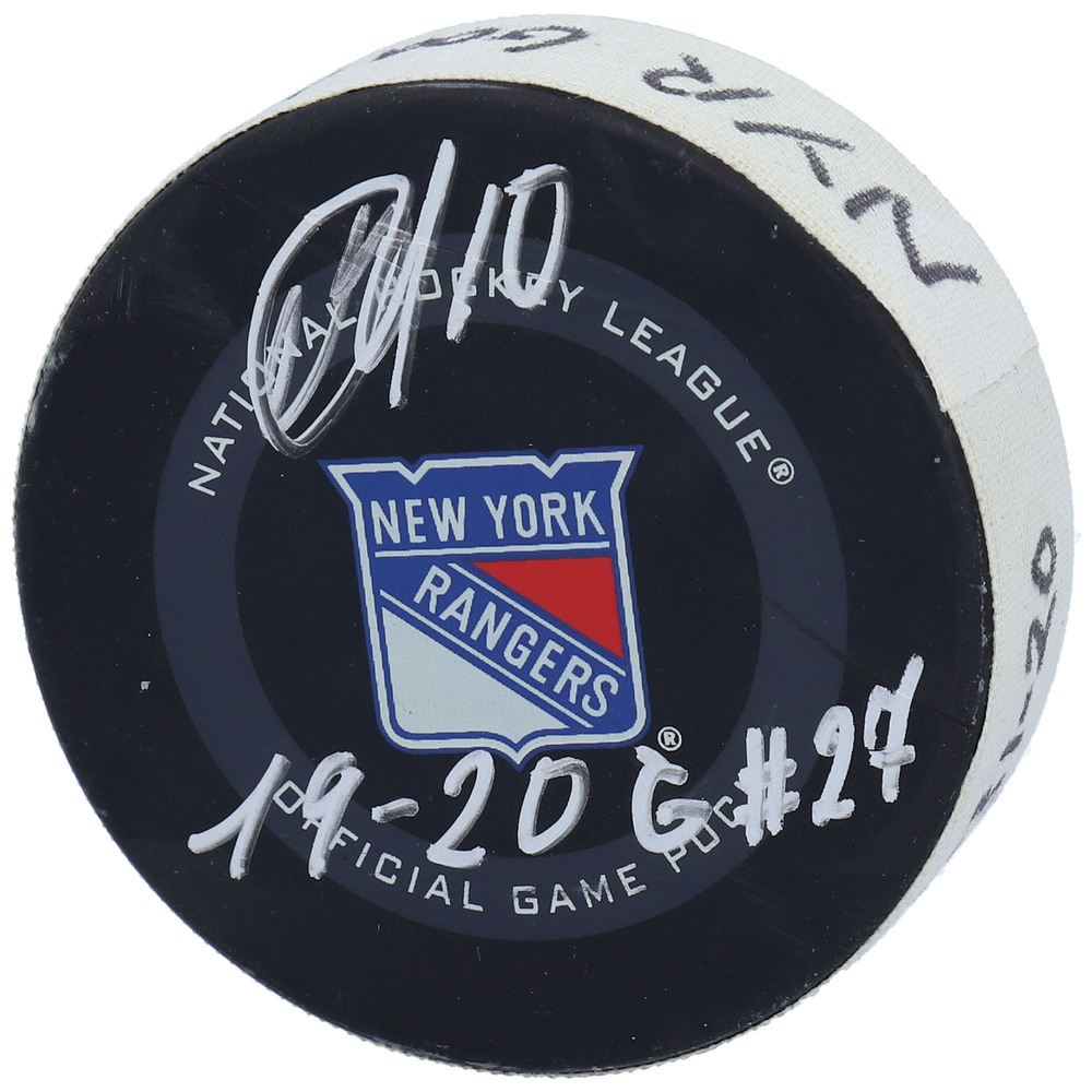 Artemi Panarin New York Rangers Autographed Game-Used Goal Puck from January 31, 2020 vs. Detroit Red Wings with