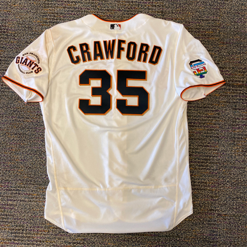 Photo of 2021 Game Used Home Cream Jersey with SF Logo Pride Patch - #35 Brandon Crawford - Worn 6/5/21 vs CHC - Size 48
