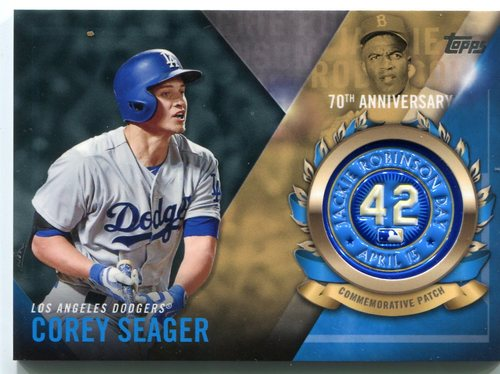 Photo of 2017 Topps Jackie Robinson Logo Patches #JRPCCSE Corey Seager