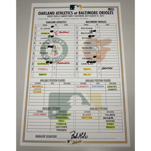 Photo of Lineup Card - 8/21/17 Oakland Athletics at Baltimore Orioles
