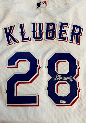 Photo of Corey Kluber Autographed Authentic Rangers Jersey