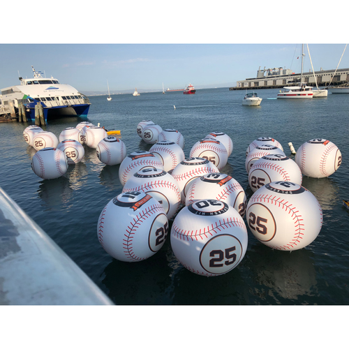 Photo of 2018 San Francisco Giants - #25 Number Retirement Game - 6' Splash Hit Inflatable Baseball - Used in McCovey Cove During #25 Retirement Ceremony (random number)