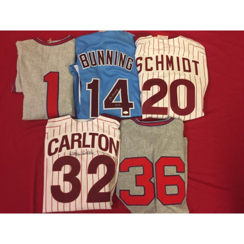Photo of Phillies Retired Numbers Autographed Jersey Set