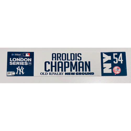 2019 London Series - Game Used Locker Tag - Aroldis Chapman, New York Yankees vs Boston Red Sox - 6/30/2019
