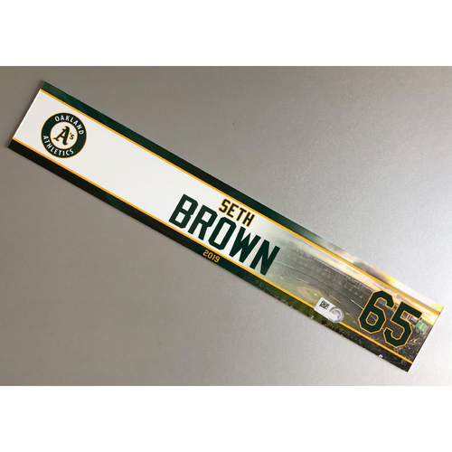 Photo of Team-Issued Seth Brown 2019 Locker Nameplate