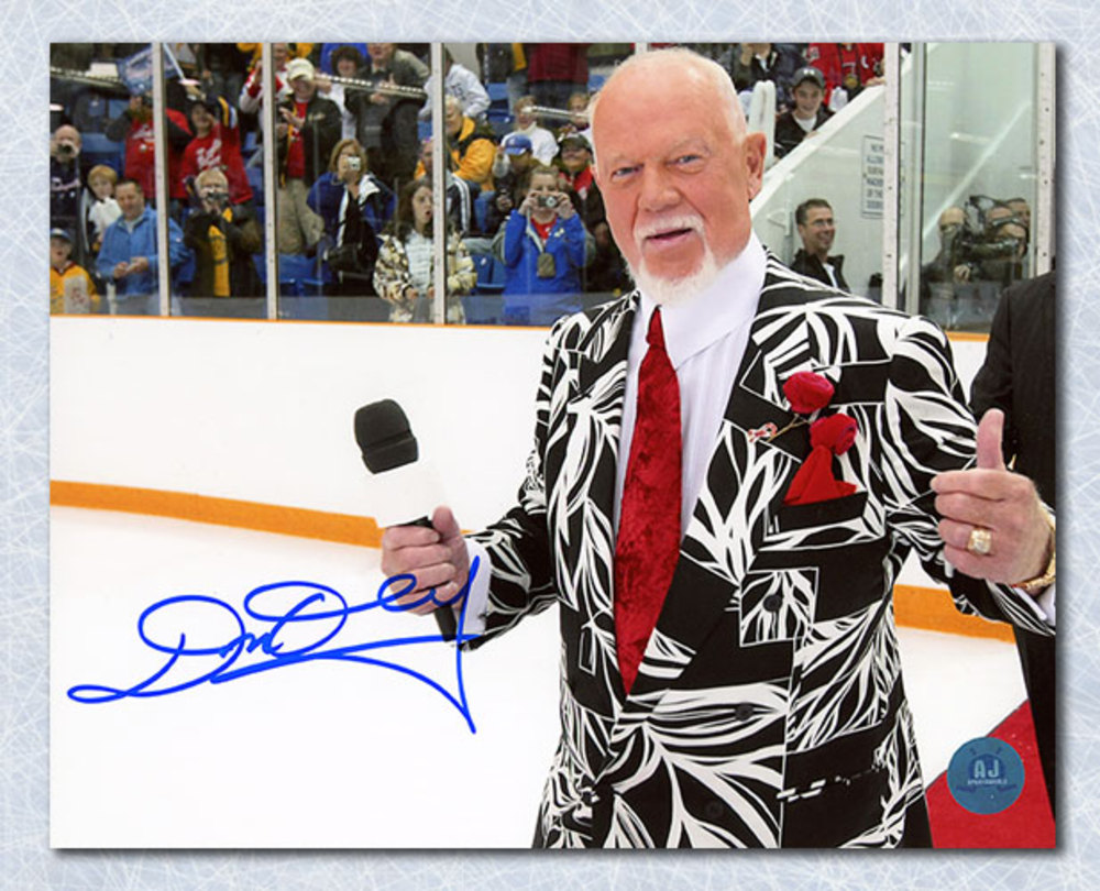 Don Cherry Hockey Night In Canada Autographed On Ice Red Carpet 8x10 Photo