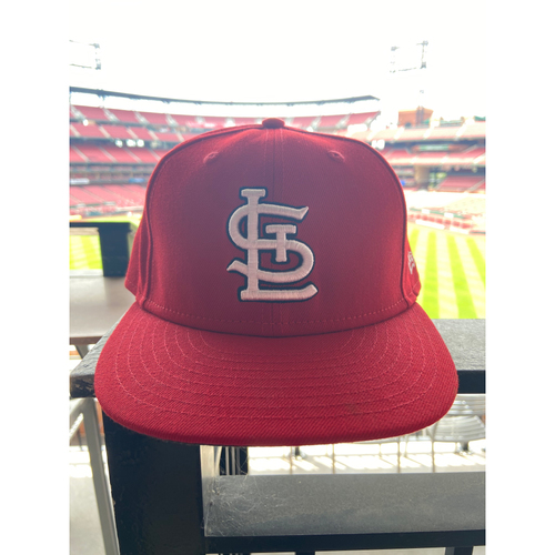 Photo of Cardinals Authentics: Game Worn Matt Carpenter Home Red Cap *1st DH at Busch Stadium*