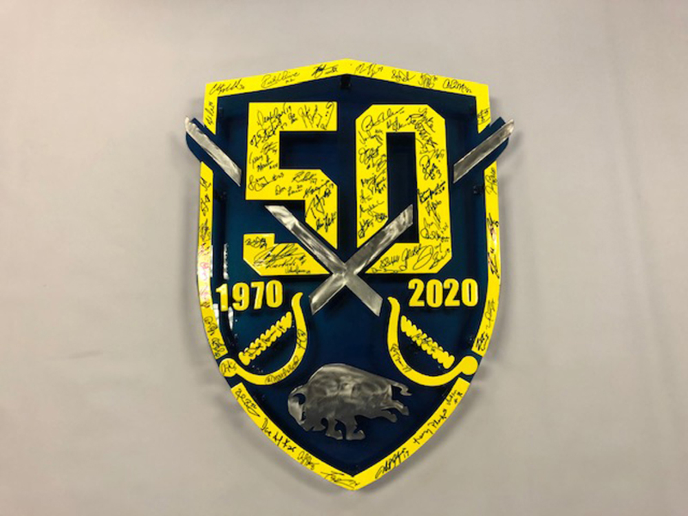 Sabres Custome-Made Metal 50th Logo Sign Autographed by Sabres Alumni