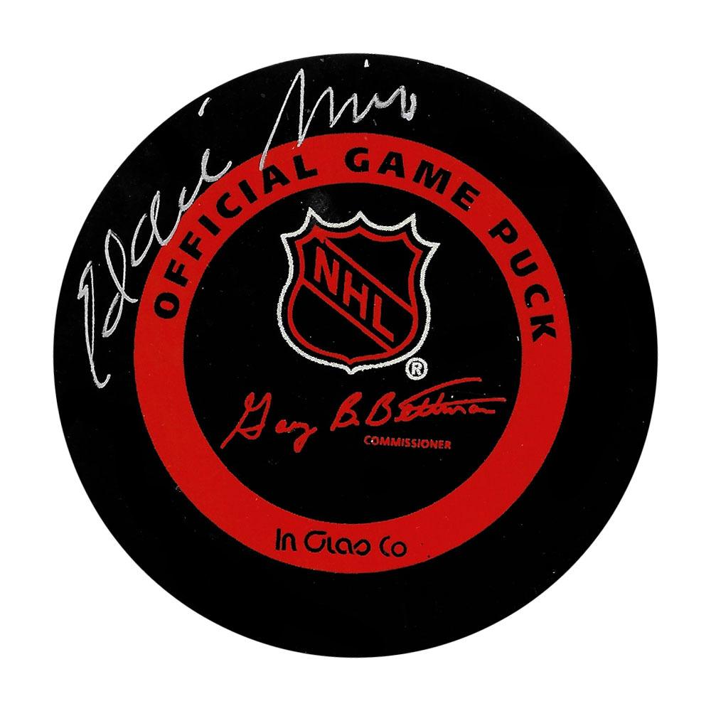 Eddie Mio Autographed Vintage NHL Official Game Puck
