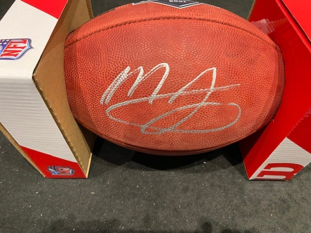 Mac Jones Autographed Football with 2021 NFL Draft Logo