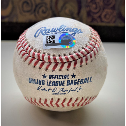 Photo of Game-Used Baseball:  Zach Plesac Cleveland Indians Immaculate Inning Back-to-Back Strikeouts (MLB AUTHENTICATED)