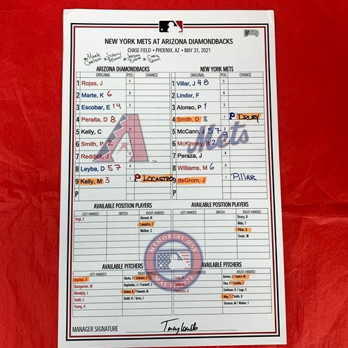 Photo of Game-Used Memorial Day Lineup Card - Jacob deGrom vs. Merrill Kelly 5/31/2021