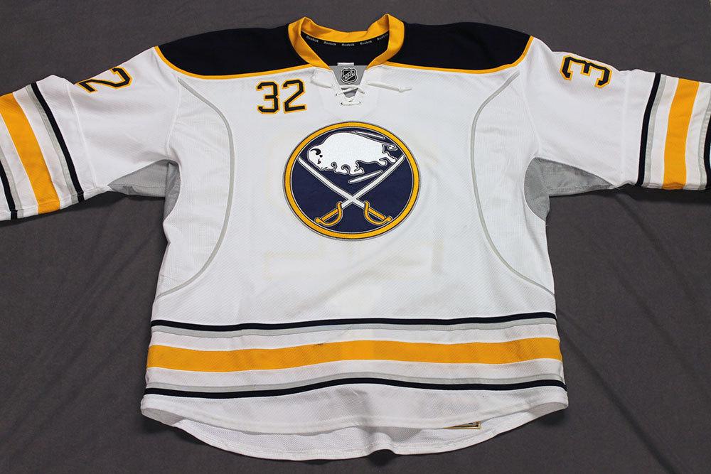 John Scott Game Worn Buffalo Sabres Away Jersey.  Serial: 1135-5. Set 2 - Size 58+.  2013-14 season.