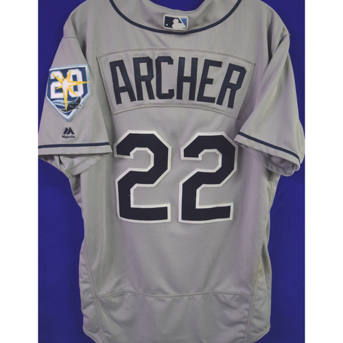20th Anniversary Jersey: Chris Archer - 1000th Career Inning Pitched - Tampa Bay Rays at Detroit Tigers - May 1, 2018