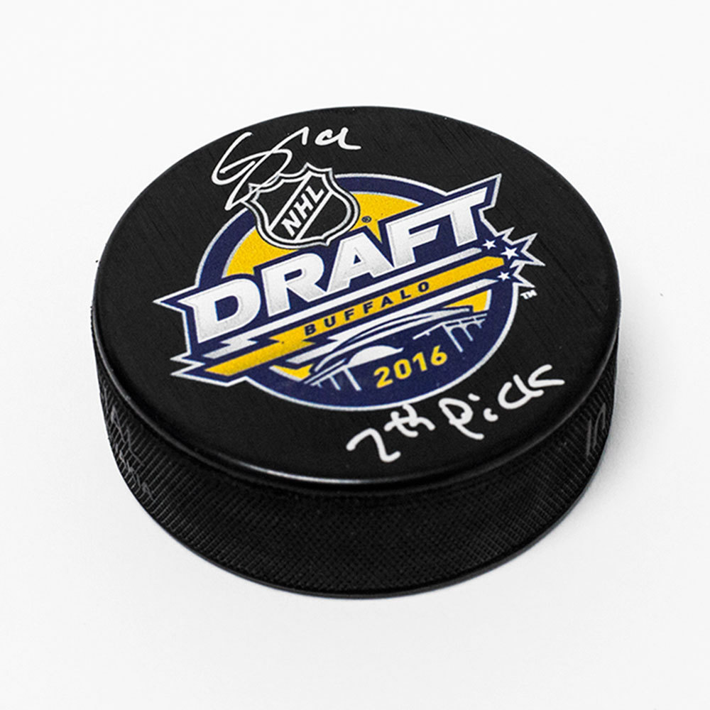 Clayton Keller 2016 NHL Draft Day Autographed Hockey Puck with 7th Pick Note *Arizona Coyotes*