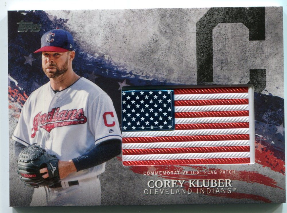 2018 Topps Independence Day U.S. Flag Relics #IDMLCKL Corey Kluber