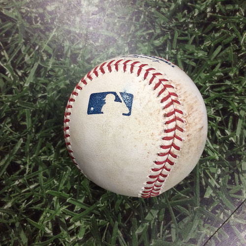 Photo of Game-Used Baseball CLE@MIL 05/08/18 - Wade Miley - Jose Ramirez: Flyout