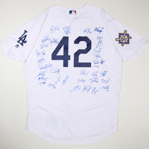 Photo of 2019 Jackie Robinson Day Jersey - Los Angeles Dodgers Team Autographed Jersey